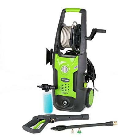 Greenworks pressure washer GPW1702 comes with a soap applicator, 2 quick-connect nozzles, and an onboard hose reel