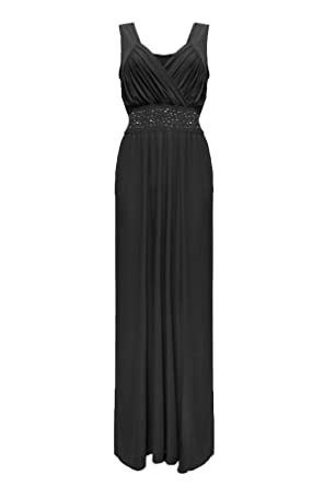 Islander Fashions Womens Plus Size Sequin Diamante Maxi Dress Ladies Sleeveless Evening Cocktail Dress Black UK