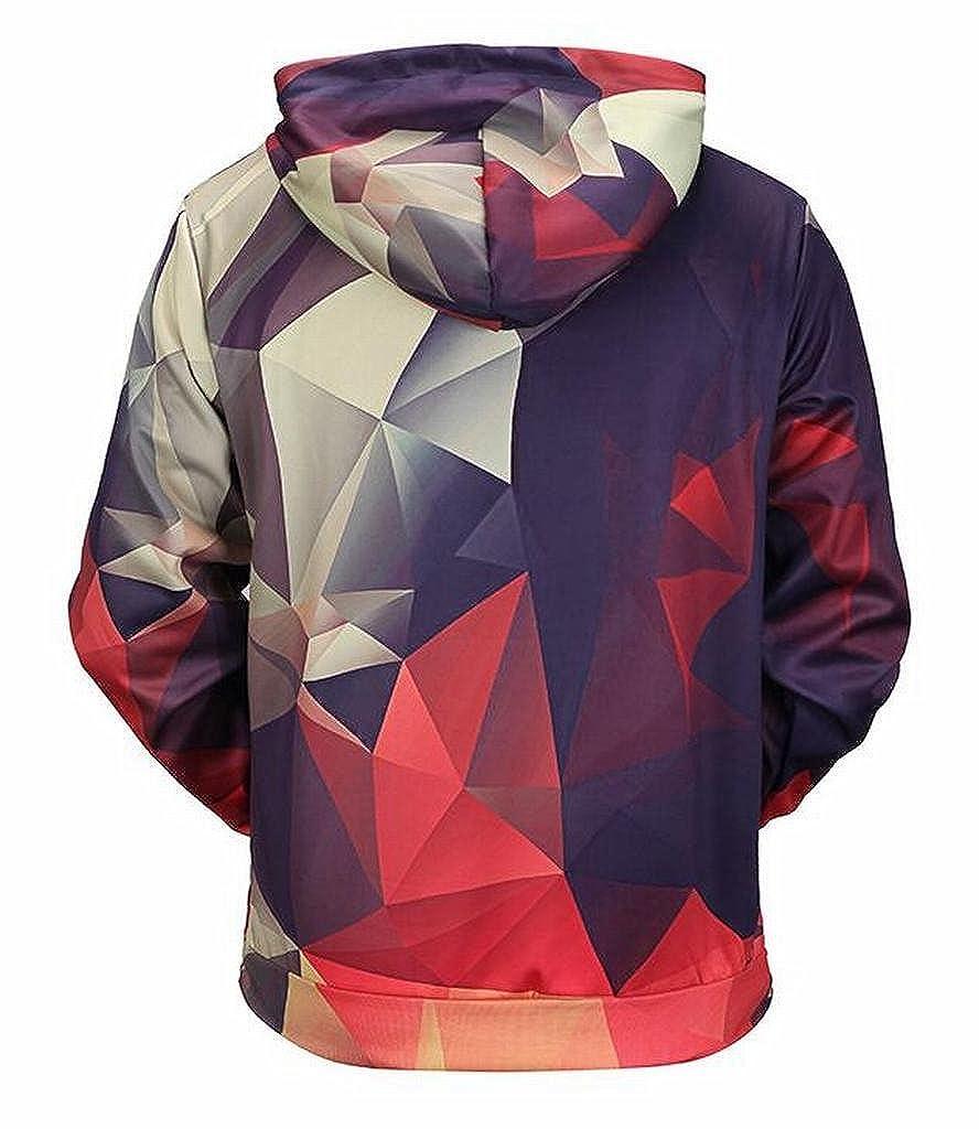 FSSE Mens Long Sleeve Casual Pocket 3D Print Pullover Hooded Sweatshirt