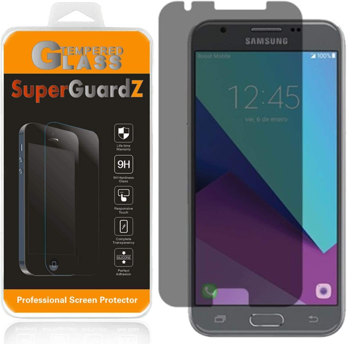 for Samsung Galaxy J3 Eclipse 2 / J3 (2017) Tempered Glass Screen Protector [Privacy Anti-Spy], SuperGuardZ, 9H Anti-Scratch, Anti-Bubble [Lifetime Replacements]