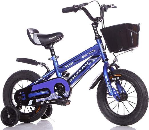 L-SLWI Bicicleta Infantil, Estilo Libre para niños y niñas, de 12 a 18 Pulgadas, con estabilizadores, hervidor de Agua y estanterías, Color Azul, tamaño 12: Amazon.es: Hogar