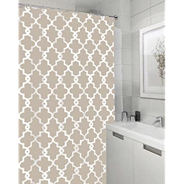 Vandarllin Geometric Patterned Waterproof 100% Polyester Fabric Shower Curtain for Bathroom 60  x 72  - Beige