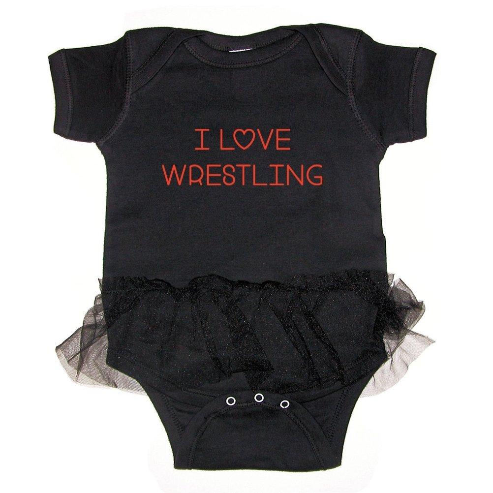Mashed Clothing I Love Wrestling Baby Tutu Bodysuit (Black, Newborn) by Mashed Clothing