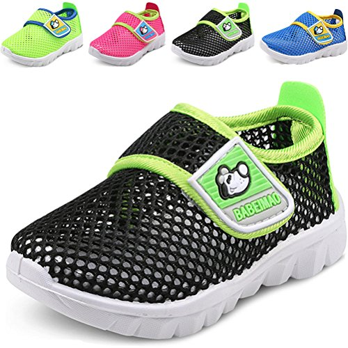 DADAWEN Baby's Boy's Girl's Breathable Mesh Running Sneakers Sandals Water Shoe Black US Size 4 M Toddler