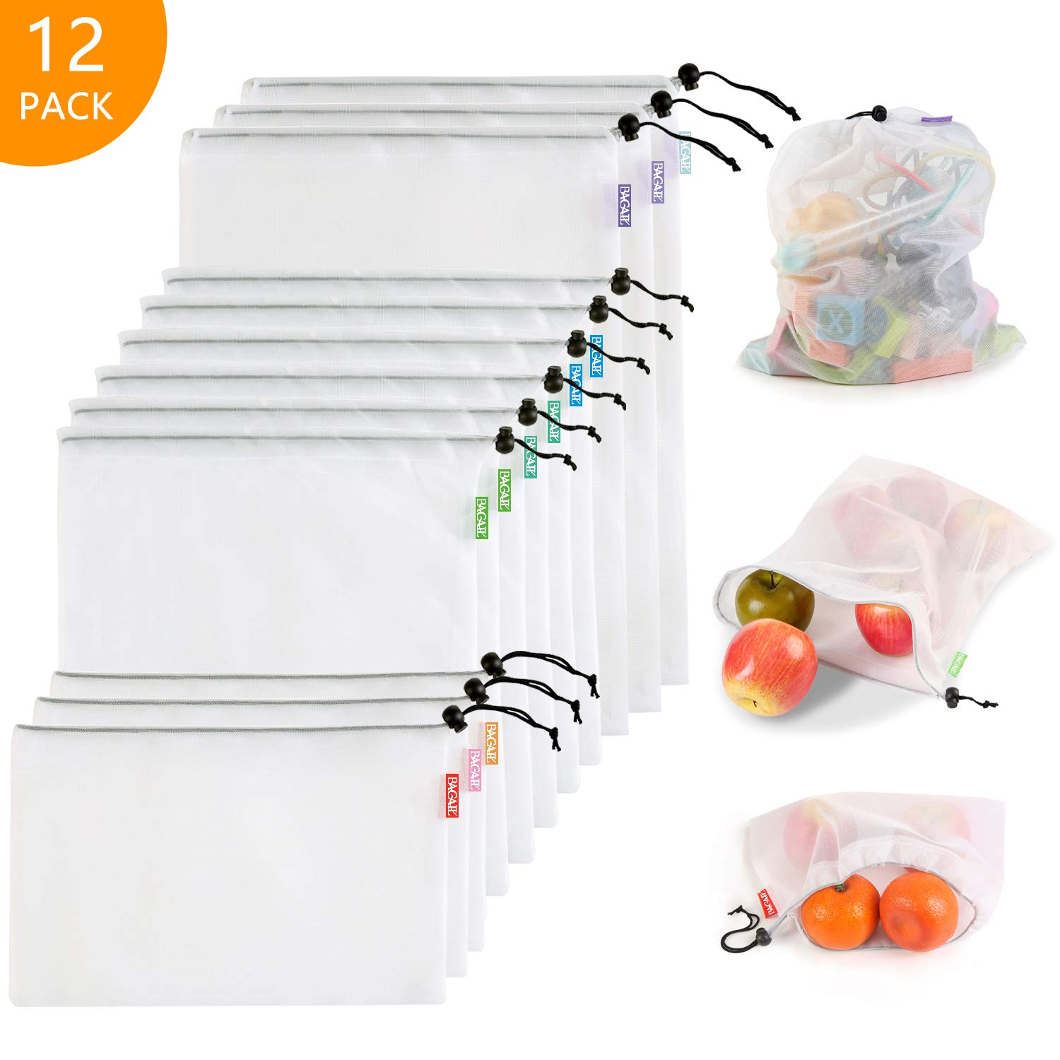 Bagail Essentials Reusable Mesh Produce Bags, ECO-Friendly, Washable, Lightweight, See-Through, Perfect for Grocery, Shopping, Storage, Fruit, Vegetable and Toys(Mesh Polyester,12PCS (3L+6M+3S))