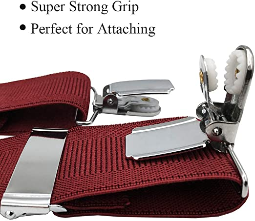 made in Italy BRUCLE Tirantes hombre X-forma el/ásticos adjustable Ancho 36 mm con clips extra fuerte
