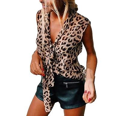 Camisas para Mujeres, Mujeres V-Cuello Corbata Sin Mangas Tanque ...