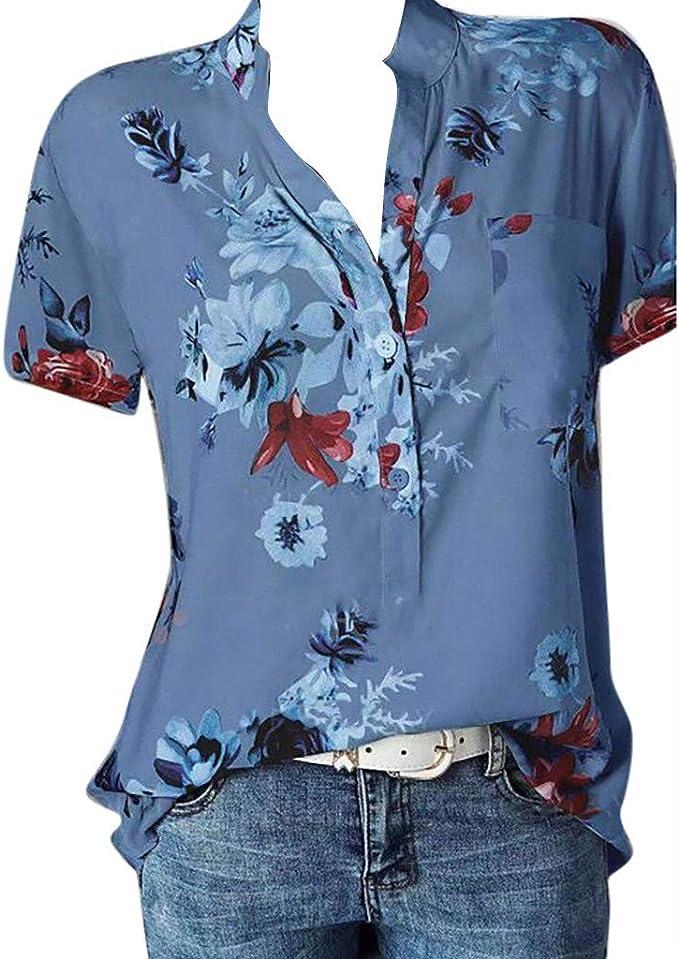 Damen Sommer V-Ausschnitt T-Shirt Boho lose Hemd Beiläufig Longtops Übergröße DE