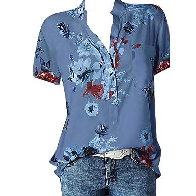 Übergröße Damen Kurzarm T-shirt Tops V-Ausschnitt Shirts Bluse Locker Oberteile