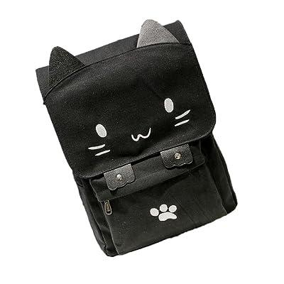 Cute Cat Canvas Backpacks Girls Cartoon Bookbags School Bag Casual Rucksack Makaor
