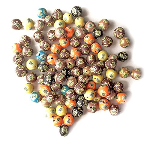 g Motif Clay Beads for Jewelry Making, Supply for DIY Beading Projects 10mm Round Mixed Colors ()
