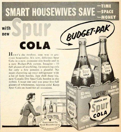 1953 Ad Canada Dry Spur Cola Soft Drinks Soda Pop Beverage Budget-Pak Carton - Original Print Ad from PeriodPaper LLC-Collectible Original Print Archive