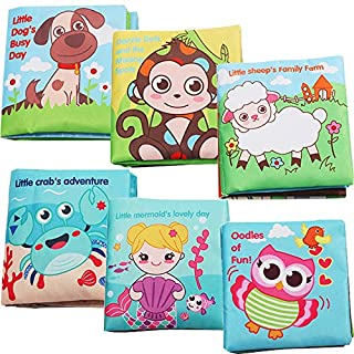 Blppldyci Baby Soft Book Cloth Book Set 6 Pack Crinkle Book,Early Education Toys,Educational Learning Toy for Infant Fabric Baby Activity Waterproof Baby Books for Toddler