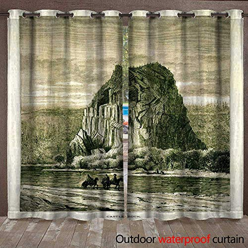 Blackout Curtain Beacon Rock Washington Wood Engraving () Waterproof CurtainW108 x L108 ()