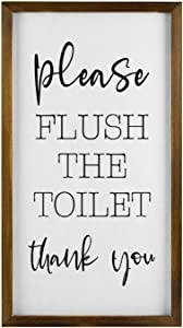 Flush The Toilet Thank You Rustic Wood Wall Sign,Hanging Wood Sign With Frame,Inspirational quotes,quote saying words Sign Decor for Garden,Personalized Text Saying Party Funny Wooden Farmhouse Quotes