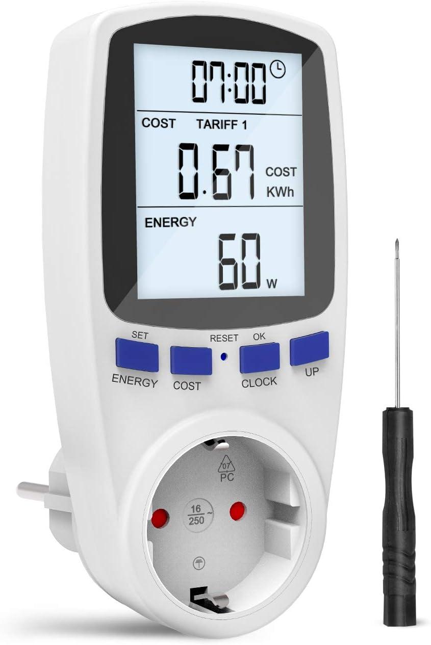 Gafild Medidor de consumo de corriente del medidor de energía, Monitor Contador de Electricidad con Pantalla LCD Retroiluminada, protección contra sobrecarga (Multi-rate): Amazon.es: Bricolaje y herramientas