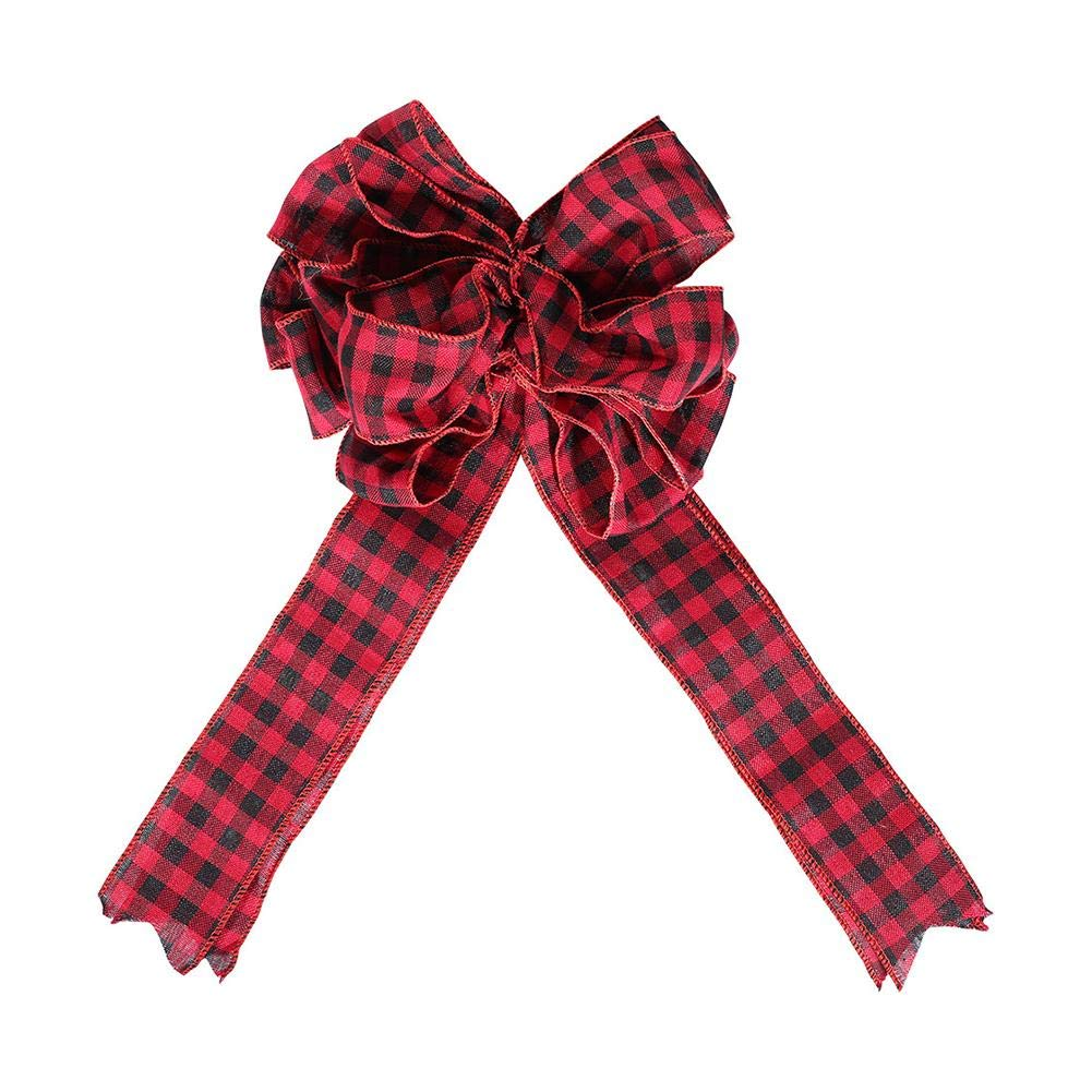 Christmas Hanging Ornaments Bowknot Decorations, Red Plaid Cloth Bow-Knot Christmas Tree Top Decorations for Home Ornaments, Party Decoration, Closet Door and Window Pendant Fancylande