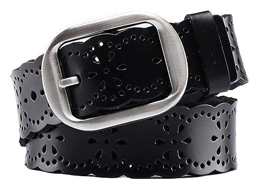 Aivtalk - Cinturón Piel Ancho para Mujer Chica con Hebilla de Aleación Banda de Huecos Waistband para Pantalones Vaqueros