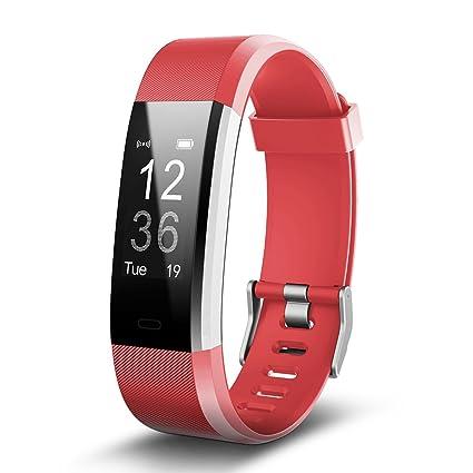 Pulsera Inteligente Antimi Pulsera actividad con Pulsómetros, Cronómetro, Gps para running, monitor de ritmo cardiac, Notificación de mensajes, ...
