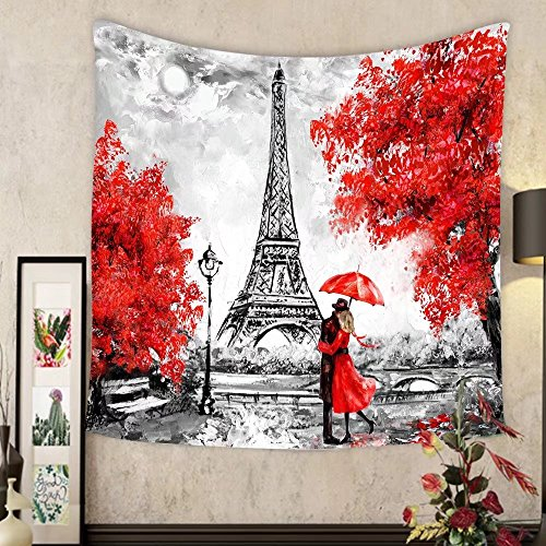 Jacquelyn A. Velasquez Custom tapestry oil painting paris european city landscape france wallpaper eiffel tower black white and (Thomas Victorian Tapestry)