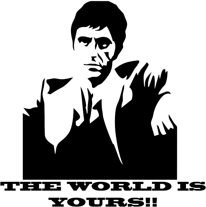 Amazon.com: Scarface The World is Yours Wall Decal is a Vinyl Wall Decal Displaying a Picture of Al Pacino in his Role as Scarface. - Black: Home & Kitchen