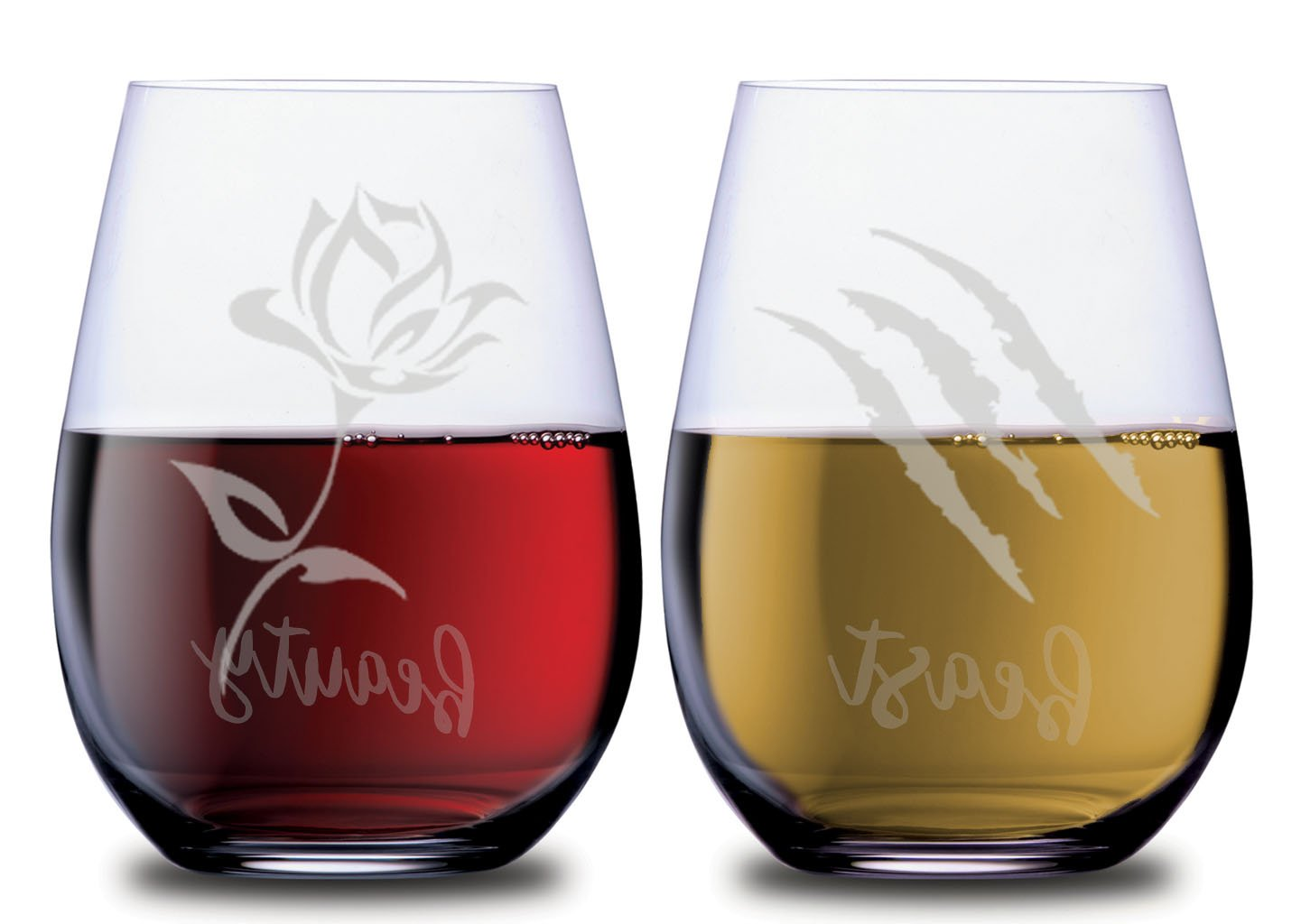 Beauty and Beast Stemless Couples Wine Glasses Set of 2 with Princess Belle Rose & Beast Scratch Funny Dishwasher Safe 18 oz by Smoochies | His and Hers Anniversary, Home Date Night Wife Husband Gift