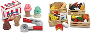 Melissa & Doug Scoop & Stack Ice Cream Cone Magnetic Pretend Play Set - The Original (Best for 3, 4, and 5 Year Olds) & Food Groups - Wooden Play Food (Best for 3, 4, 5, and 6 Year Olds)