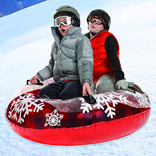 74c50767489 Pipeline Sno Red Hot Plaid Inflatable 2 Person MEGA Snow Tube with 4 Grip  Handles and