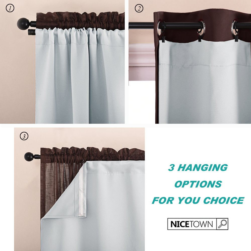 """NICETOWN Blackout Curtain Liners for 95"""" Curtains - Black Out Curtain Liners for 