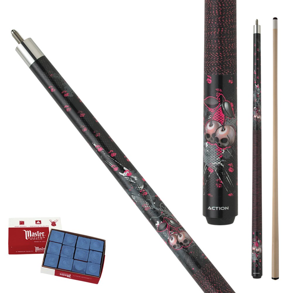 Action Eight Ball Mafia EMB07 black, gray, pink and white grunge graphic cherry skull design Maple Pool Cue Stick with 12 pieces of Master Billiard Chalk (21) by Action