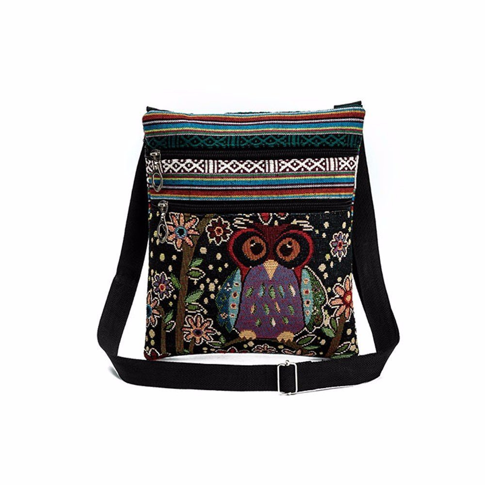 Liraly Women Bags, Embroidered Owl Tote Bags Women Shoulder Bag Handbags Postman Package (D)