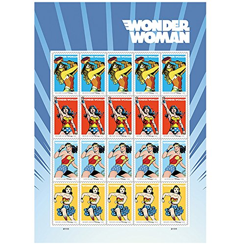 Wonder+Woman Products : 20 Wonder Woman 75th Anniversary USPS Forever First Class Postage Stamps 1 Sheet of 20