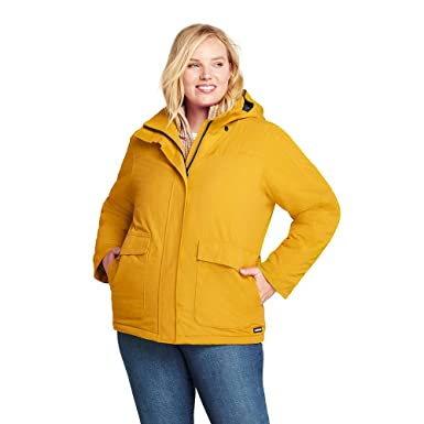 6d72bc8ed2 Amazon.com  Lands  End Women s Plus Size Hooded Squall Winter Jacket   Clothing