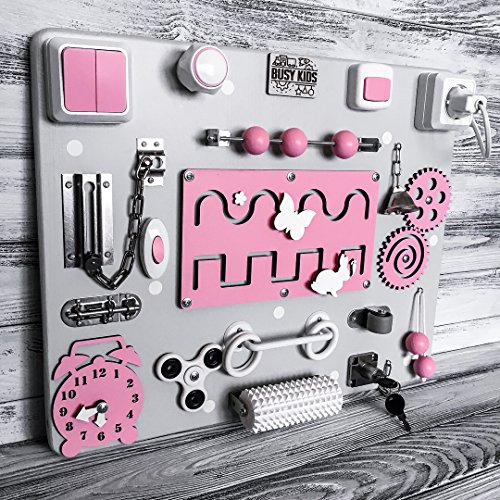 European quality. Handmade Wooden Busy board, Clever Puzzles, Locks and Latches Activity Board (pink) №2 by MebliLine