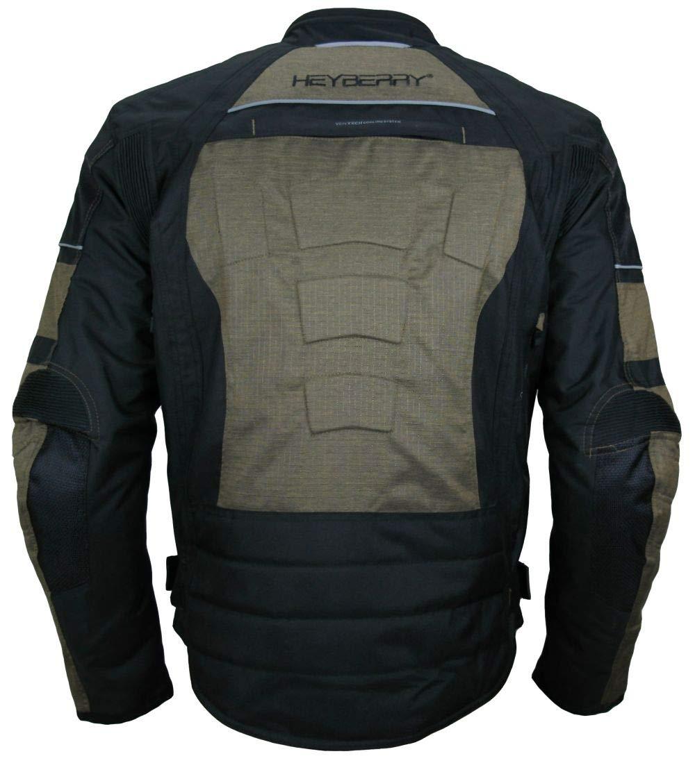 HEYBERRY Kurze Textil Motorrad Jacke Motorradjacke Antique Grau Gr XXL