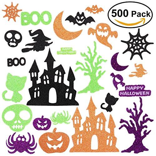 Halloween Stickers for Kids, Glitter Craft Stickers for Pumpkin Decorating or Halloween Bags, 500 (Kids Halloween Spider Crafts)