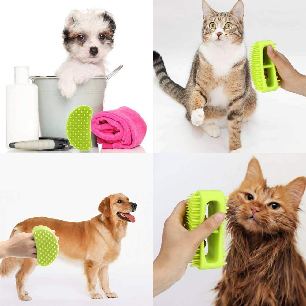 Cat Slicker Shedding Hair Brush for All Pet Sizes Soft Silicone Dog Grooming Brush Pet Bath /& Massage Brush for Cats and Dogs with Short or Long Hair Famobest Dog Brush /& Cat Brush