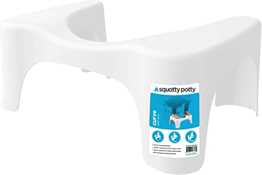 Squatty Potty The Original Bathroom Toilet Stool, CURVE Lightweight with sleek and modern design, 7 inch height, WHITE, 1 Count
