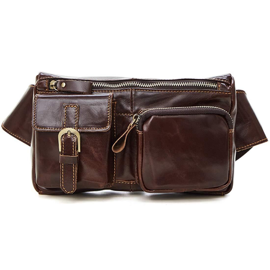 RABILTY Leather Belt Bag Color : Coffee Color Men Genuine Leather Wallet Cellphone Waist Bag Mini Travel Messager Pouch Crossbody Bag Pack Purse Wallet