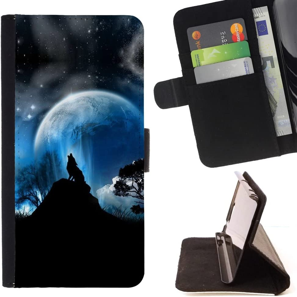 - Full Moon Wolf Wolves Howl Stars/Personalized Design Custom Style PU Leather Case Wallet Flip Stand - Cao - for Apple iPod Touch 6 6th Generation