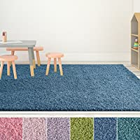 iCustomRug Bella Kids Shag Area Rug 9ft0in x 12ft0in (9 x 12) Great For The Nursery room, Kids Bedroom Or Playroom in Indigo Blue