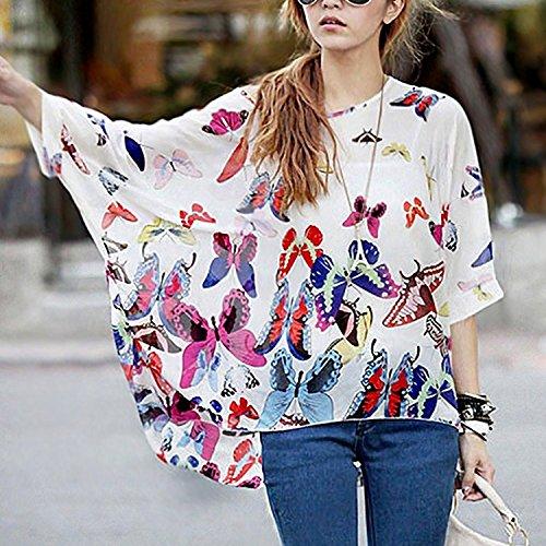 Geometrica T Manica Estate Shirt Chiffon 4 Bohemian Donna 3 Stampa Blouse Maglia Bianco Bianco gqwTppAPx