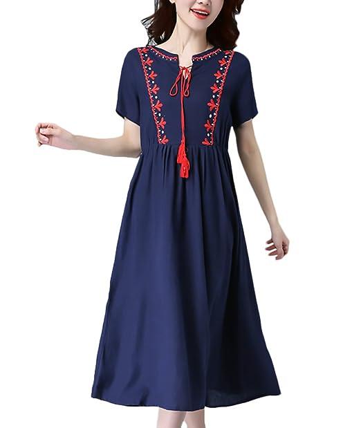 299af7665 Vestidos Mujer Verano Elegante Cuadros Manga Corta Cuello Redondo Vestidos  Niñas Ropa De Línea A Moda