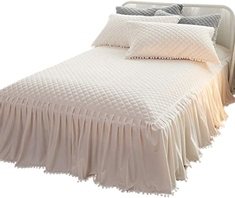 LIFEREVO Luxury Velvet Dust Ruffle Bed Skirt Diamond Quilted Bedspread 3 Sided Coverage 18-inch Drop with Pompoms Fringe Pink, Queen