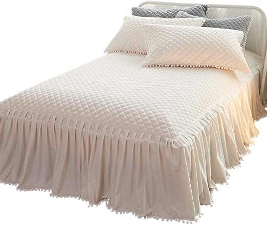 KING SIZE PATCHWORK BERRY LUXURY QUILTED FITTED BEDSPREAD FRILL LILAC WHITE