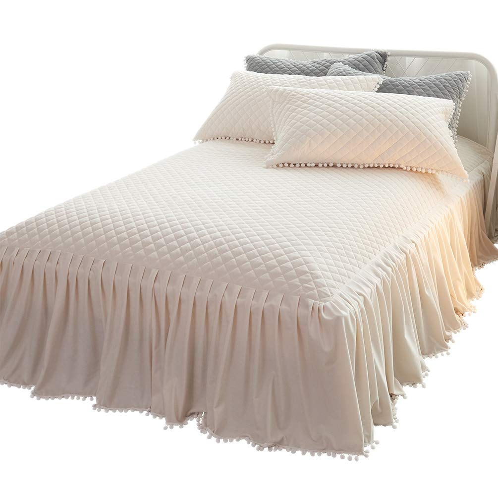 LIFEREVO Luxury Velvet Diamond Quilted Fitted Bed Sheet 3 Side Coverage 18 inch Drop Dust Ruffle Bed Skirt with Pompoms Fringe (King Light Beige)