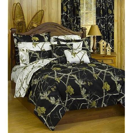 Realtree AP Black Camo 7 Pc Queen Reversible Bedding Set AP White Camo Sheet Set 2 Valance Drape Sets Comforter Sheets 2 Pillowcases 2 Pillow Shams 2 Valance Drape Sets For 2 Windows