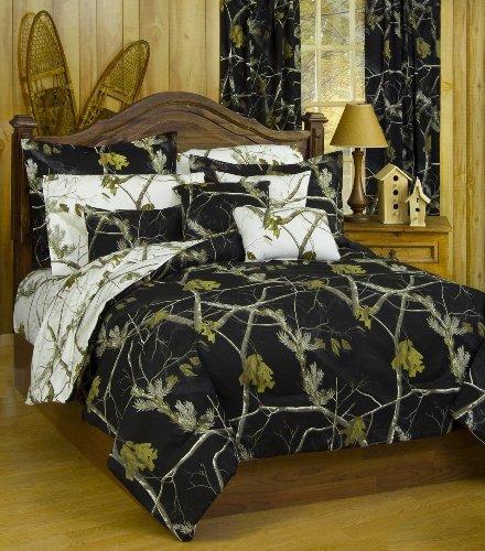 Realtree AP Black Camo 7 Pc Queen Reversible Bedding Set, AP White Camo Sheet Set & 2 Valance/Drape Sets: (Comforter, Sheets, 2 Pillowcases, 2 Pillow Shams , 2 Valance/Drape Sets - Ap Valance