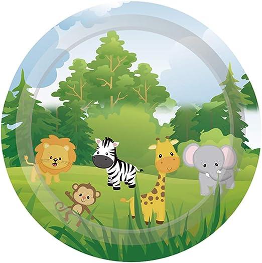 10pcs Safari animals theme paper plates kids birthday party disposable disheVT