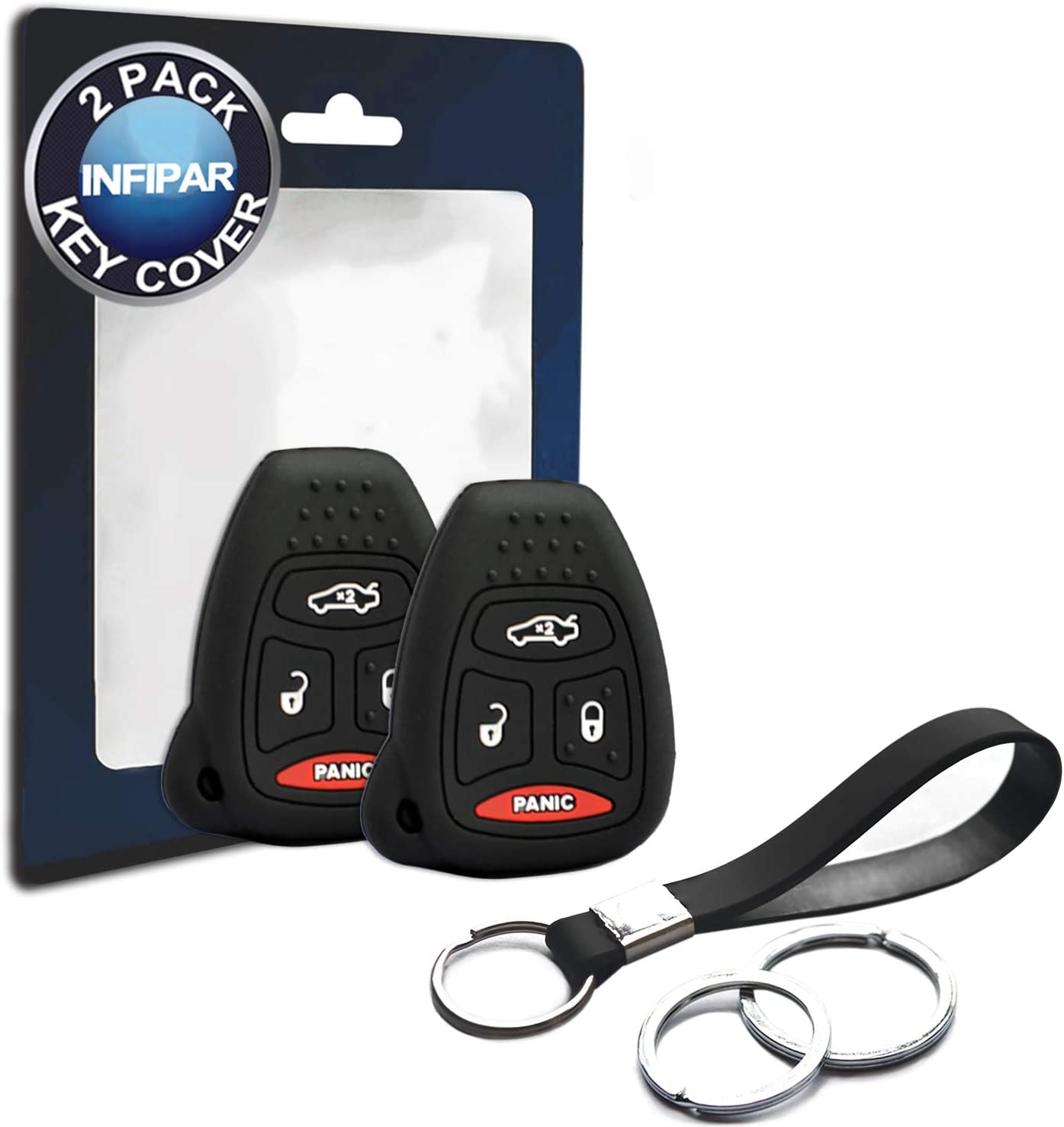 Chrysler 200 300 PT Cruiser Dodge Avenger Charger Durango Magnum 2pcs Silicone FOB Case Cover Protector Keyless Remote Head Holder Compatible with for 2005-2012 Jeep Commander Grand Cherokee Liberty